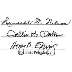 First Presidency Signature